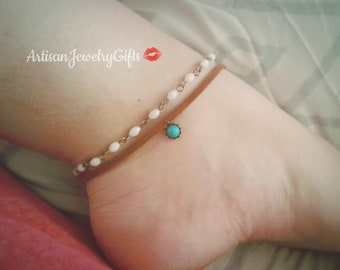 Layered Anklets Boho Anklets Tuquoise Howlite Anklet Brown Leather Ankle Bracelet Boho Ankle Bracelet White Beaded Anklet Bohemian Anklets