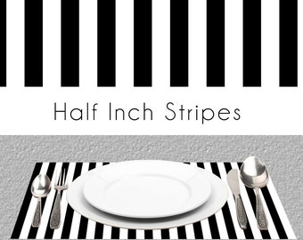 "Half Inch Black And White Stripes Paper Placemats, Book of 25 Card Stock Sheets | Size Is 17"" x 11"" inches Tear-Off Durable Paper Pad"