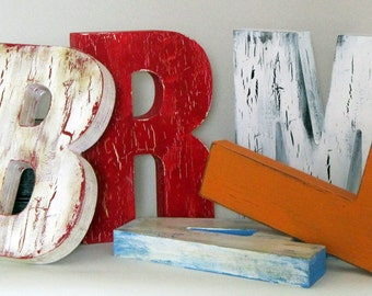 Free Standing Big Letters vintage rustic distressed letters Painted for Weddings farmhouse decor nursery letters custom made vintage sign