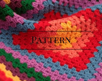 Granny Square baby afghan pattern red, Rainbow granny square baby blanket