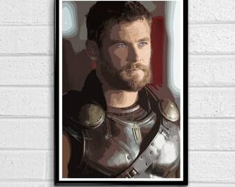 Thor Marvel Avengers Ragnarok Illustration 3, Film, Movie, Pop Art, Superhero Poster, Comic Book Print Canvas