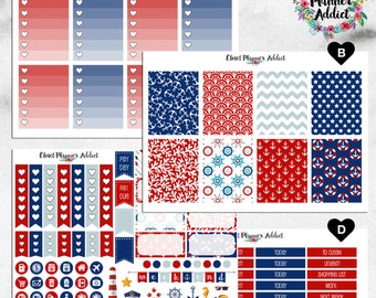 Vertical Weekly Kit Planner Stickers - Nautical | Boxes, MDN, Icons | For Use With Erin Condren Life Planner™ (EC-015)