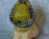 Vintage Gil Etruschi Pottery Green Lion Figure Modernist 1960s
