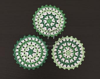 Three Coasters - Green & White