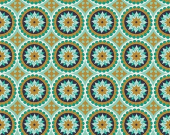 CLEARANCE Teal Gold Star Medallion Fabric - Riley Blake - La Vie Boheme Teal Medallions - SC4742-TEAL - Teal Gold Blue Medallions - The Quil