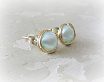 Pearl Stud Earrings, Small Gold Posts, Freshwater Pearl Earrings, Light Blue Studs, Real Pearl Earrings, Gold Stud Earrings, Natural Pearls