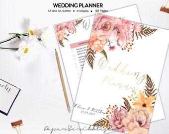Wedding Planner, Printable Wedding Organizer, Wedding Binder, Wedding Checklist, Wedding Planner Book, Wedding Binder, Printable Planner