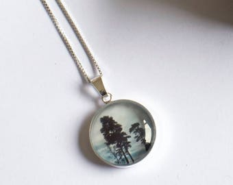 Trees Necklace, Silver Trees Necklace, Monochrome Pendant, Nature Jewellery. Sterling Silver, Trees Pendant, Silver Tree Pendant