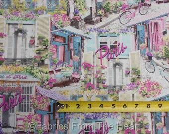 Paris Garden Windows w Flowers Fleur De Paris BY YARDS Timeless Treasure Fabric