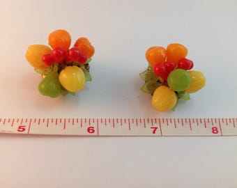 Vintage Clip Earrings Plastic