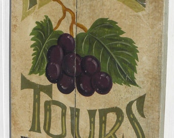 Handmade Wooden Sign: Wine Tours with arrow. Grape art to advertise your event, kitchen art, photo prop. Wine cellar bar decor gift