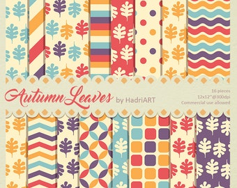 Autumn Digital Paper // Fall Leaves Pattern