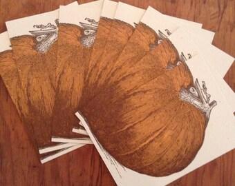 Orange PUMPKIN Greeting Cards Farmers Market Letterpress Pack of 8 harvest decor fall squash jack o lantern halloween party