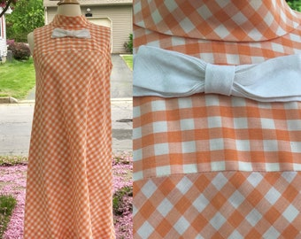 1960s Orange Gingham Dress