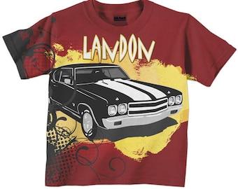 Boys Car Shirt, Personalized Cool Car Tshirt, Custom Childrens Clothing