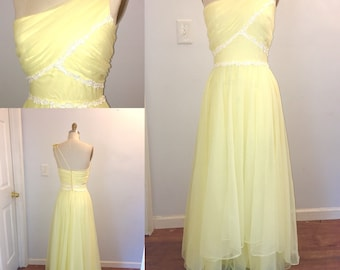 1970s Prom Dress Floaty Yellow Chiffon One Shoulder Maxi Full Length Size Small