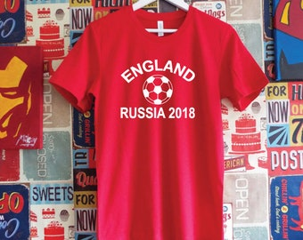 England Russia 2018 Shirt. England Football World Cup Support Shirt. English Football Shirt.