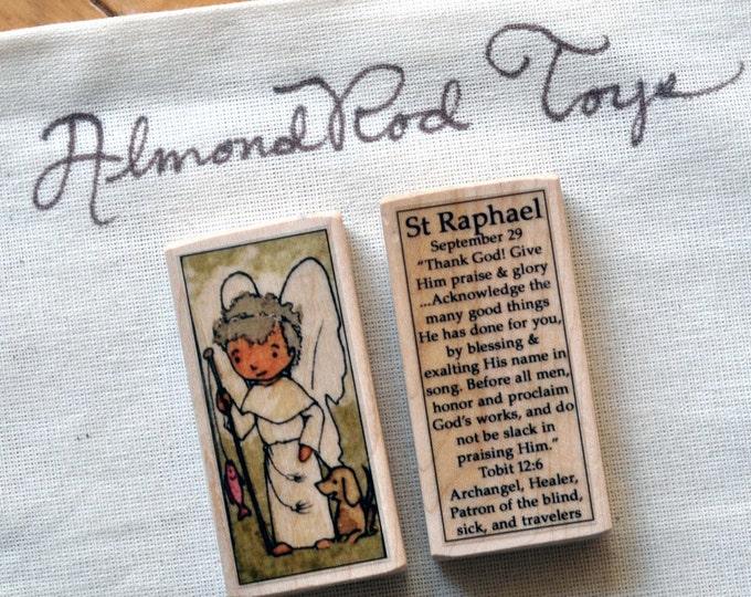 St Raphael the Archangel Patron Saint Block