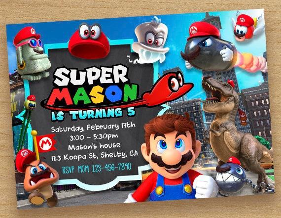 Super Mario Odyssey Invitation Super Mario Invitation
