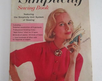 Vintage 1958 Simplicity Sewing Book featuring the Simplicity Unit System of Sewing, 144 pages, Softcover