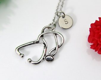 Stethoscope Necklace, Silver Stethoscope Charm, Doctor Gift, Graduation Gift, Medical Student Gift, Nurse Gift, Personalized Gift, N82