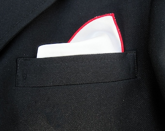 Silk Pocket Square with Red Edge  - Pocket Square - Mens Silk Handkerchief - White Silk Pocket Square - Pocket Hankerchief