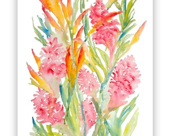 Pink Ginger & Bird of Paradise Watercolor Fine Art Print, 8x10, 11x14, Watercolor Tropical Flowers