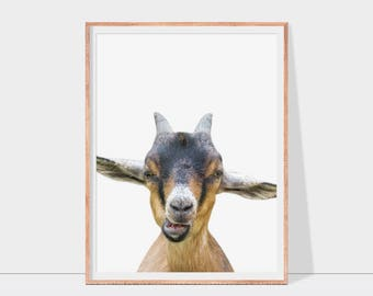 Goat printable art, goat portrait print, farm animal, nursery wall decor, instant download goat wall art for home, office or apartment