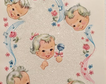 Vintage Baby Card, Glitter, Congratulations, New Arrival, NOS, 1950s