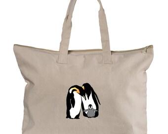 Penguin Family Canvas Zippered Book Tote (NY)