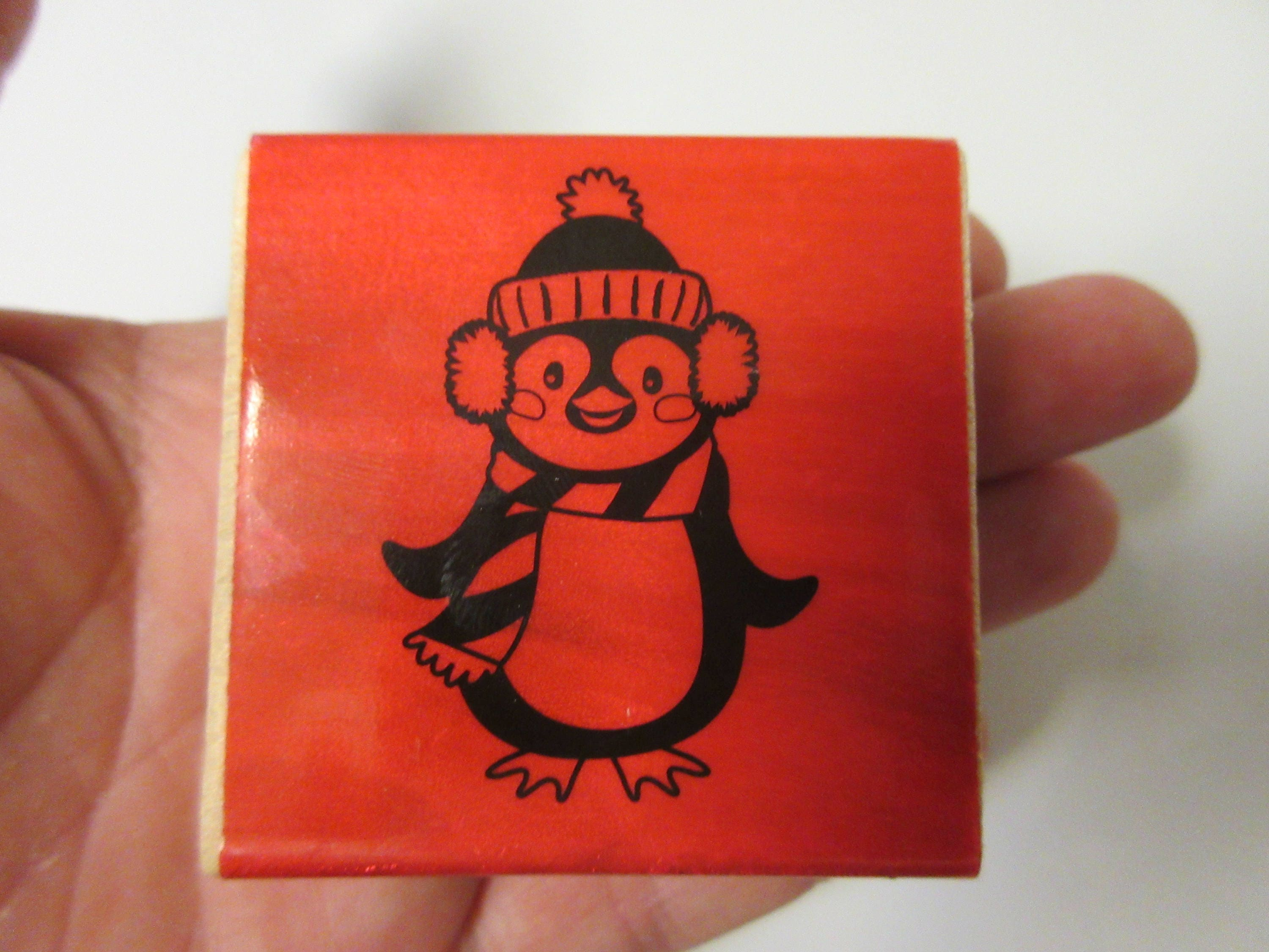 Penguin Rubber Stamp-Christmas Stamps-Winter Stamps