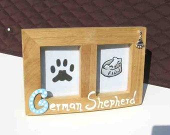 Final Markdown Sale...GERMAN SHEPHERD Dog Breed Wood Desktop Double Photo Frame w/Pawprint Charm