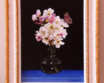 Flowers with butterfly, original oil painting