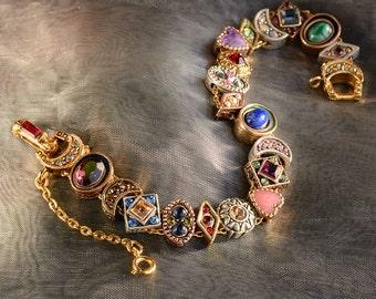 Vintage Slide Bracelet, Victorian Bracelet, Wedding Bracelet, Antique Bracelet, Vintage Wedding, Renaissance, Christmas Gift for Her BR107