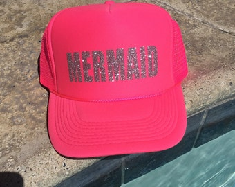 Mermaid trucker hat-summer pool hat-summer hat-mermaid hat-cute trucker hat-beach hat-beach trucker hat
