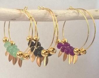Boucles d'oreille petites créoles or avec des pierres-Boucles d'oreille bohème-Bijoux demoiselle d'honneur-Saint Valentin cadeau pour elle-