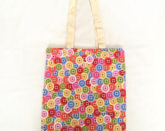 Lined Cute Button Eco-Friendly Reusable Tote Bag