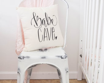 Boho Nursery Babe Cave Girls Room Woman Cave Hand drawn Nursery Pillow 16 x16 Handwritten Makeup Room Woman Cave Craft Room Ladies