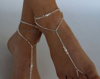 Wedding Foot Jewelry, Barefoot Sandals, Crystal Foot Jewelry, Slave Anklet, Foot Thong,l Barefoot Wedding, Bridesmaid Gift,Soleless Shoes
