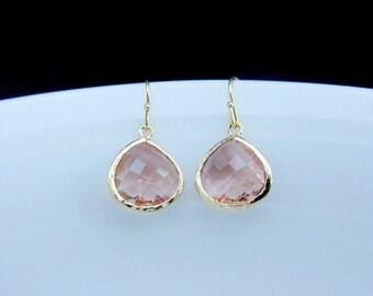 gold peach earrings , champagne gold drop earrings , peach drop earrings , peach bridesmaids earrings , light peach dangle , drop earrings