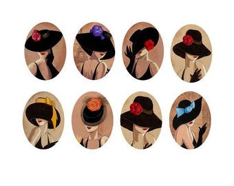 18x25mm, set of 8 different women cabochons