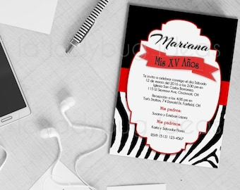 Zebra Red/black XV Años Printable Invitation, Wedding Invitation, Bridal shower invitation