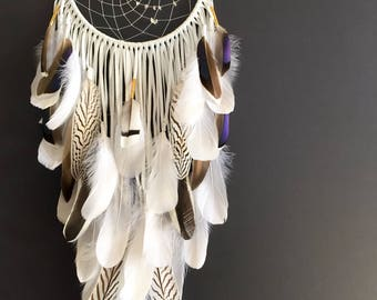 "White Leather Dream Catcher w/ Quartz Crystals 10"" x 31"". Handmade. Wall hanging."