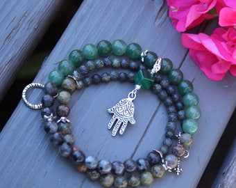 Pregnancy Tracking Necklace - Pick your charm - Green Forest - Aventurine, labradorite, unakite, malachite