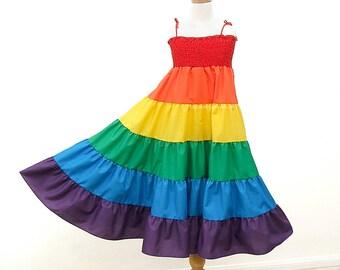 Rainbow Twirl Dress, Rainbow Dress, Size Medium fits Girls Size 7, Girls Size 8,  Rainbow Sundress, Children Girls Clothing