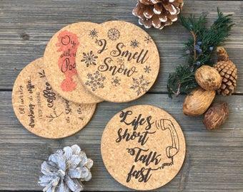 Lorelai Gilmore Inspired Cork Coaster Set of 4