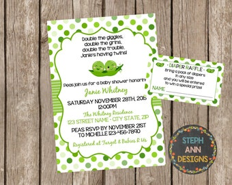 Baby Shower Invitation-Peas in a Pod Shower-Twins Baby Shower