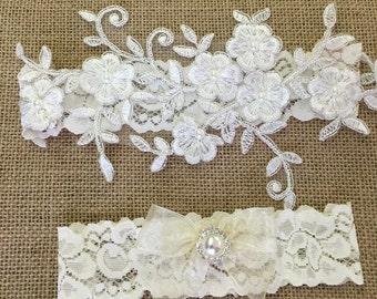 Wedding garter, lace garter set, bridal garter