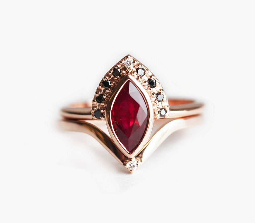 ruby wedding ring ruby engagement ring ruby wedding set ruby ring 7179