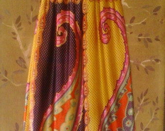 70s bright psychedelic paisley and polka dot maxi skirt